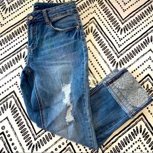 Imperial star girls embroidered distressed jeans